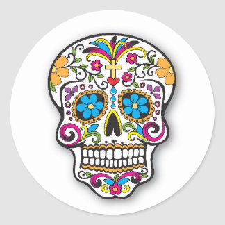 Colourful Mexican Sugar Skull Day of the Dead Classic Round Sticker