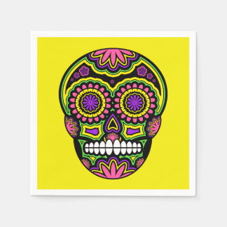 Colourful Mexican Sugar Skull Day Of The Dead Paper Napkin