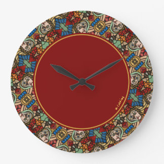 Colourful Modern Abstract Faces Pattern Round Large Clock