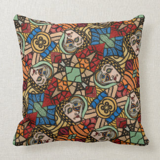 Colourful Modern Abstract Faces Pattern Throw Pillow