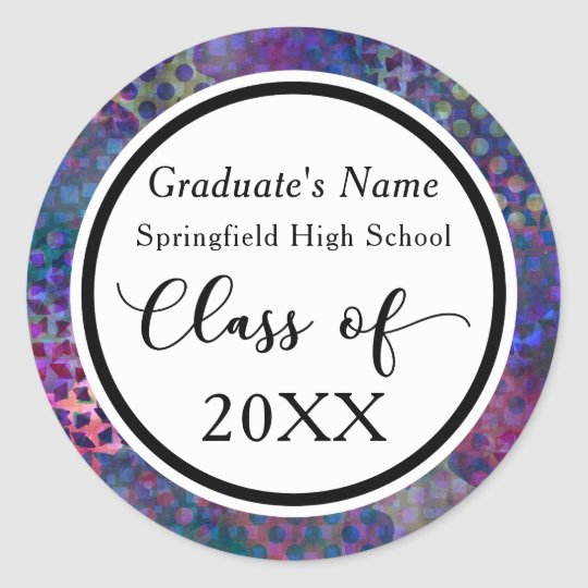 Colourful, Modern, Abstract Graduation Celebration Classic Round Sticker