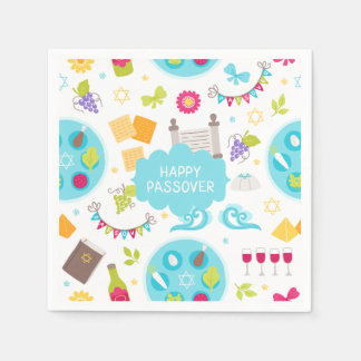 Colourful Modern Happy Passover Paper Napkins