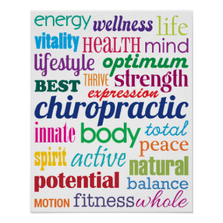 Colourful Motivational Word Collage Chiropractic Poster