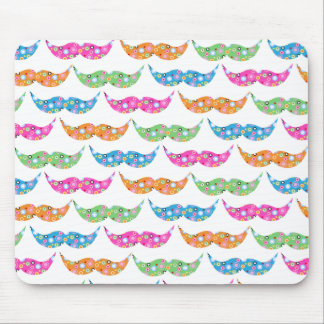 colourful moustache circles pattern image mouse pad