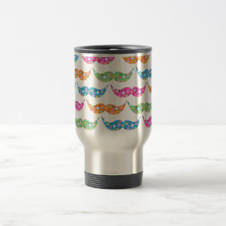 colourful moustache circles pattern image stainless steel travel mug
