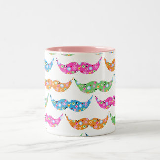 colourful moustache circles pattern image Two-Tone mug