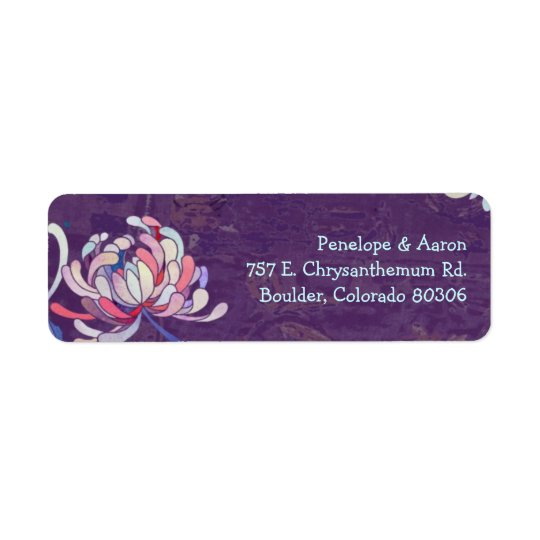 Colourful Mum Purple Wedding Address Labels