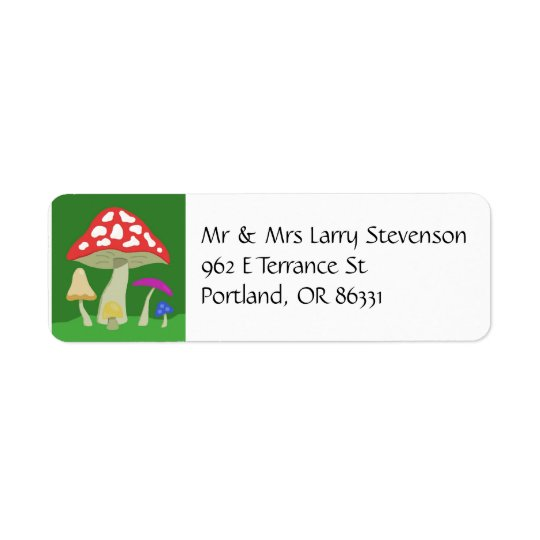 Colourful Mushrooms address label