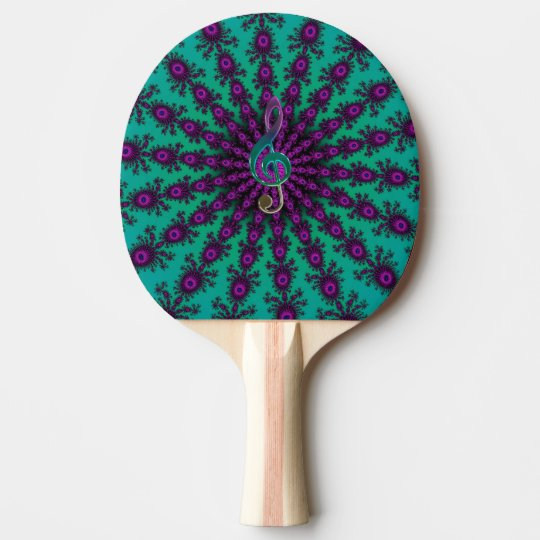 Colourful Music Clef on Star Fractal Ping Pong Paddle