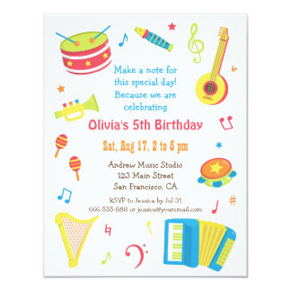 """Colourful Music Instruments Kids Birthday Party 4.25"""" X 5.5"""" Invitation Card"""
