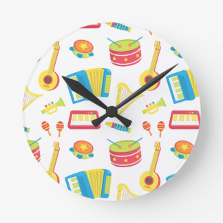 Colourful Music Instruments Kids Room Decor Round Clock