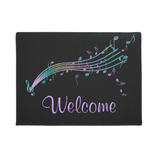 Colourful Music Notes Black Welcome Mat
