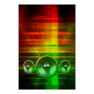 Colourful music speakers poster