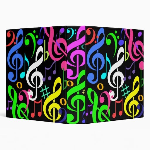 Colourful Musical Notes Binder