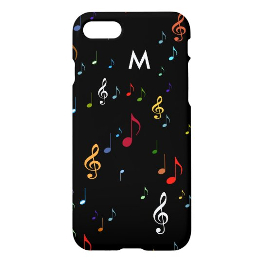 colourful musical notes with initial iPhone 7 case