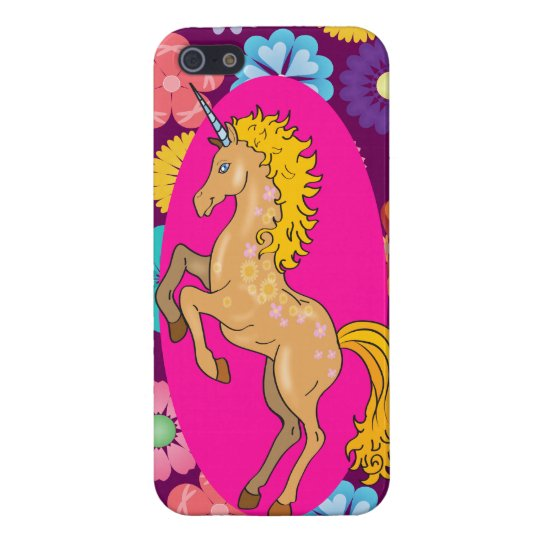 Colourful Mystical Unicorn on Pink Purple Flowers iPhone 5/5S Cases