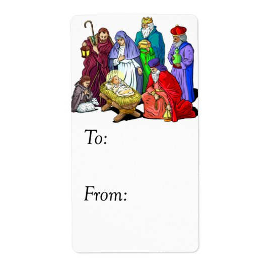 Colourful Nativity Gift Tag