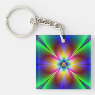 Colourful Neon Daisy Double-Sided Square Acrylic Keychain