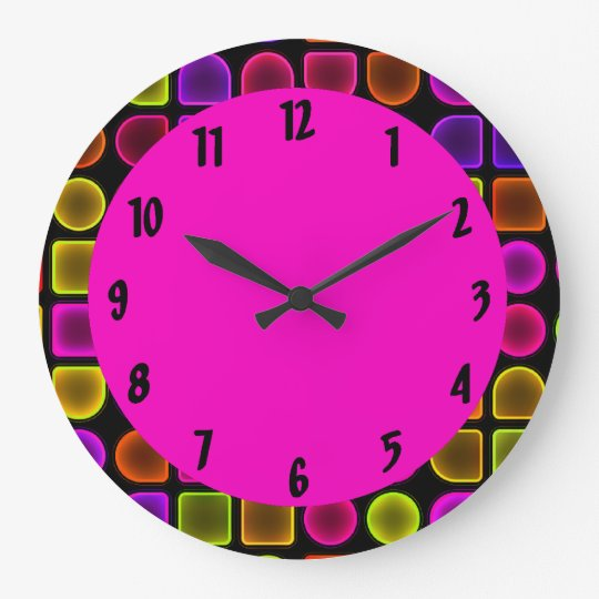 Colourful Neon Large Decorative Wall Clock