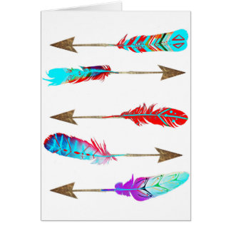 Colourful Neon Rustic Bohemian Feather Arrows Card