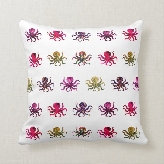 Colourful octopus pattern throw pillow