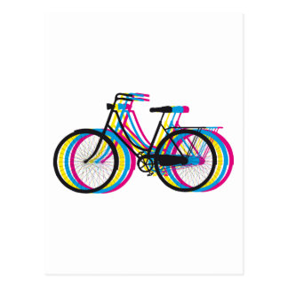 Colourful old bicycle silhouette, t-shirt design postcard