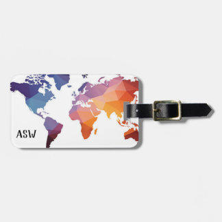 Colourful Oragami Map Travelers Luggage Tag