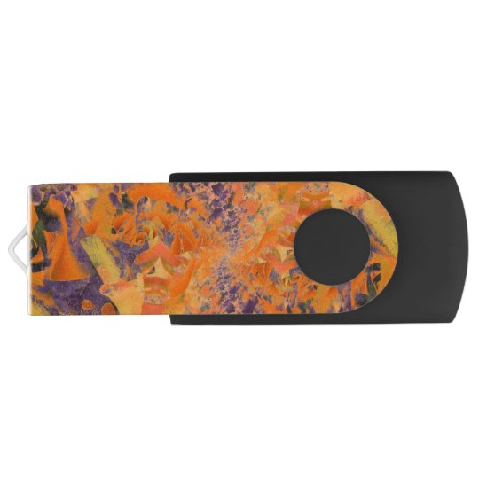 Colourful Orange & Purple Abstract, USB Flash Swivel USB 3.0 Flash Drive