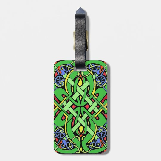 Colourful Ornate Irish Celtic Knot Luggage Tag