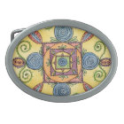 Colourful Oval Mandala Belt Buckle with Silver Rim