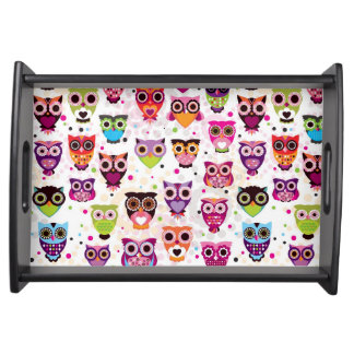 Colourful Owl Pattern For Kids 2 Serving Tray