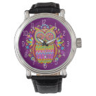 Colourful Owl Watch - Retro & Groovy!