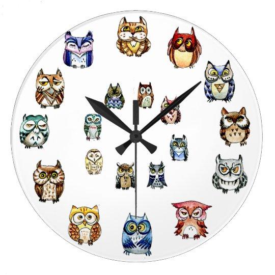 Colourful Owls Clock
