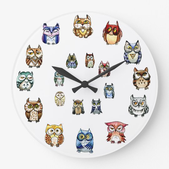 Colourful Owls Large Clock