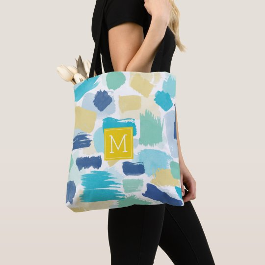 Colourful Paint Brush Strokes and Yellow Monogram Tote Bag