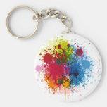 Colourful Paint Splatter Basic Round Button Keychain
