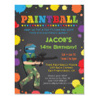 Colourful Paintball Birthday Party Invitations