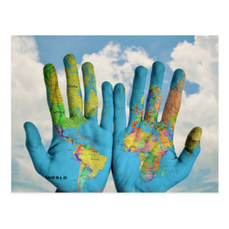 Colourful Painted World Map in Hands, Art Photo Postcard