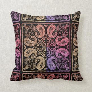 Colourful  Paisley Mandala Cotton Pillow