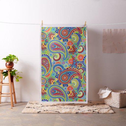 Colourful Paisley Pattern Fabric