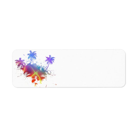 Colourful Palm Trees Illustration Return Address Label