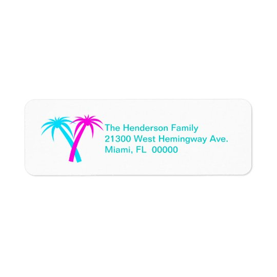 Colourful Palms Return Address Label