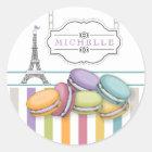 Colourful Paris Macarons Eiffel Tower Monogram Classic Round Sticker