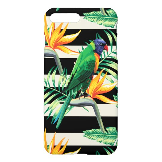 Colourful Parrot And Flowers iPhone 7 Plus Case