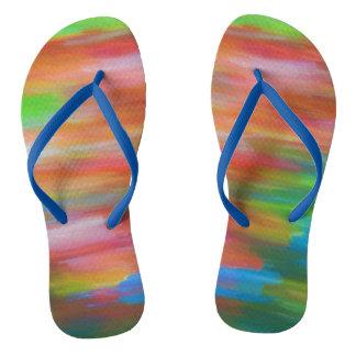 Colourful pastel chalk art in rainbow colours flip flops