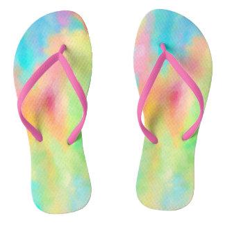 Colourful pastel chalk art in soft rainbow colours flip flops