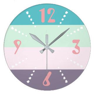 Colourful Pastel Large Clock