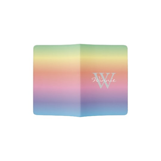 Colourful Pastel Rainbow Colours Monogram Passport Holder