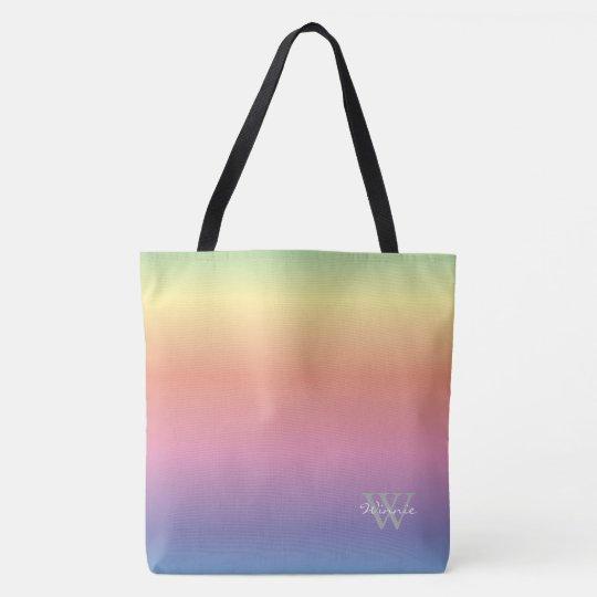Colourful Pastel Rainbow Colours Monogram Tote Bag