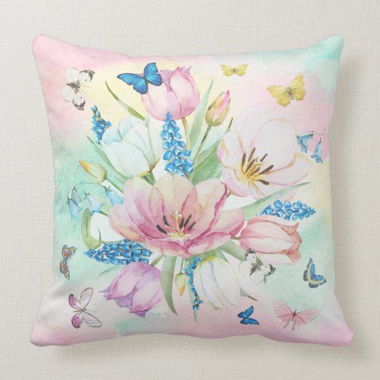 Colourful Pastel TonesFlowers & Butterfly's Throw Pillow